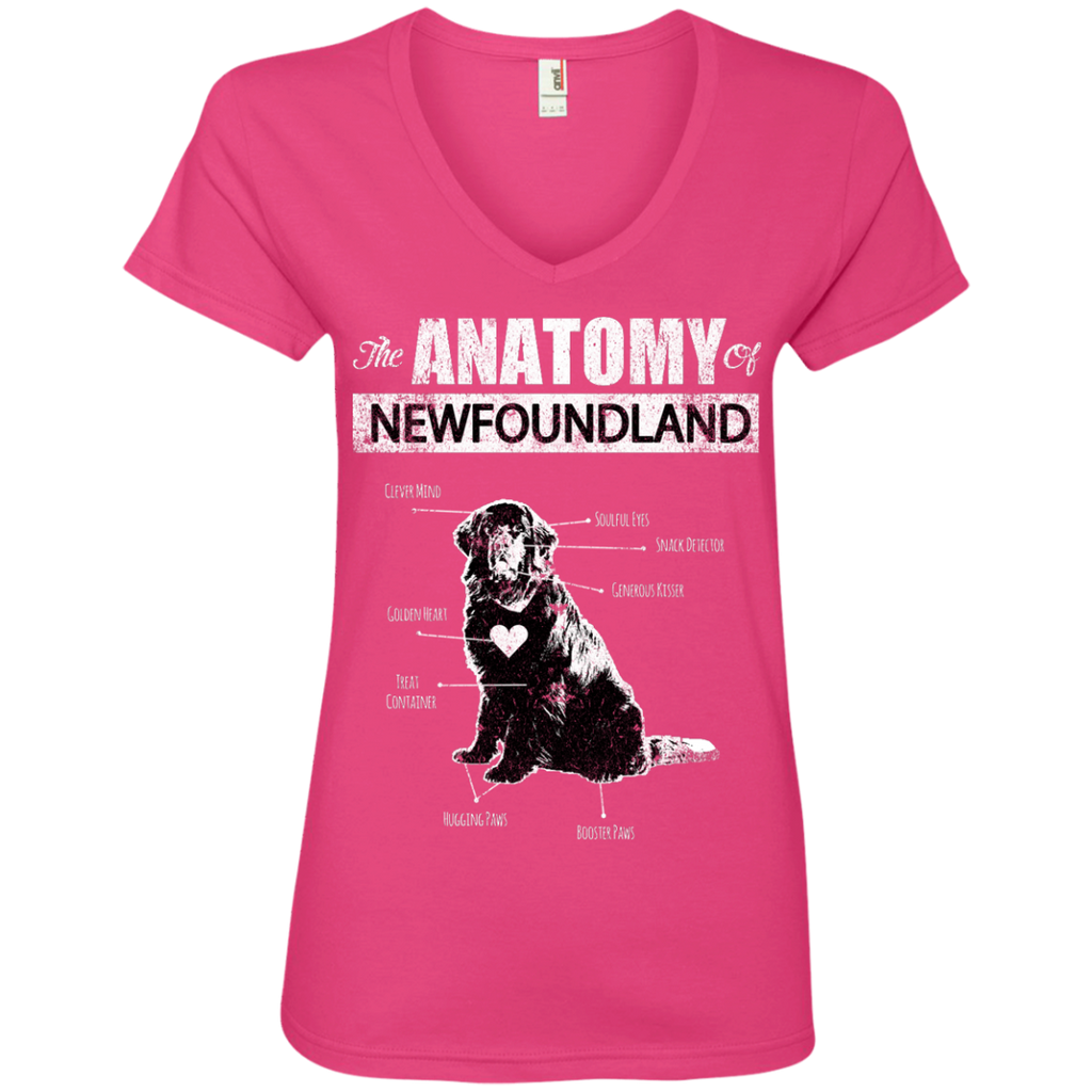 Newfie Anatomy Ladies' V-Neck Tee