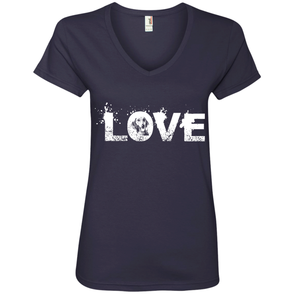 Love Dachshund Ladies' V-Neck Tee