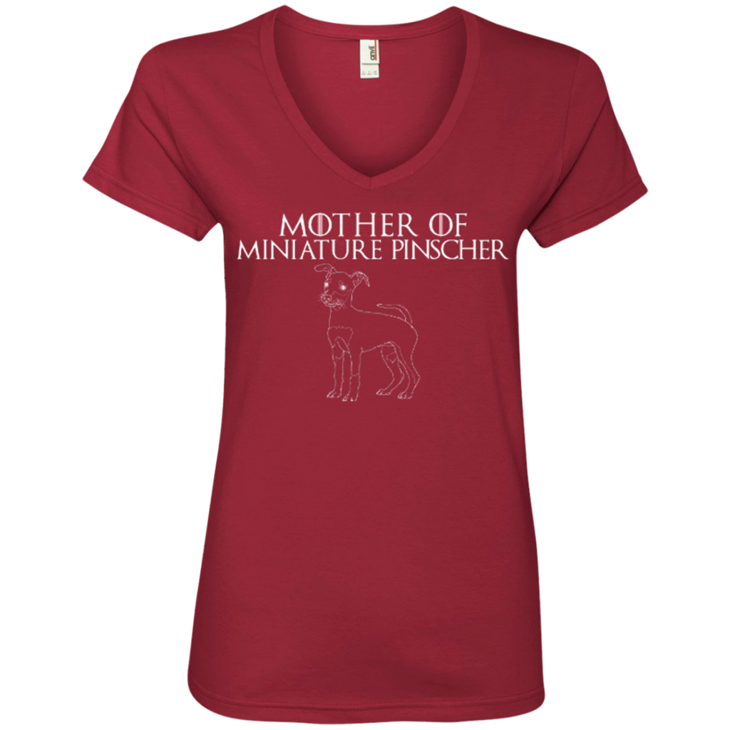 Mother Of Min Pin Ladies' V-Neck Tee