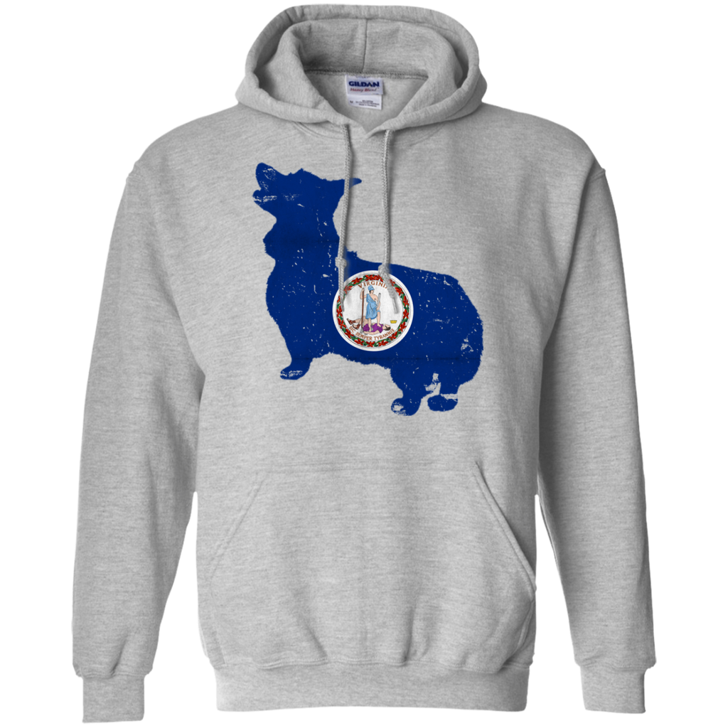 Welsh Corgi Virginia Flag Pullover Hoodie 8 oz.