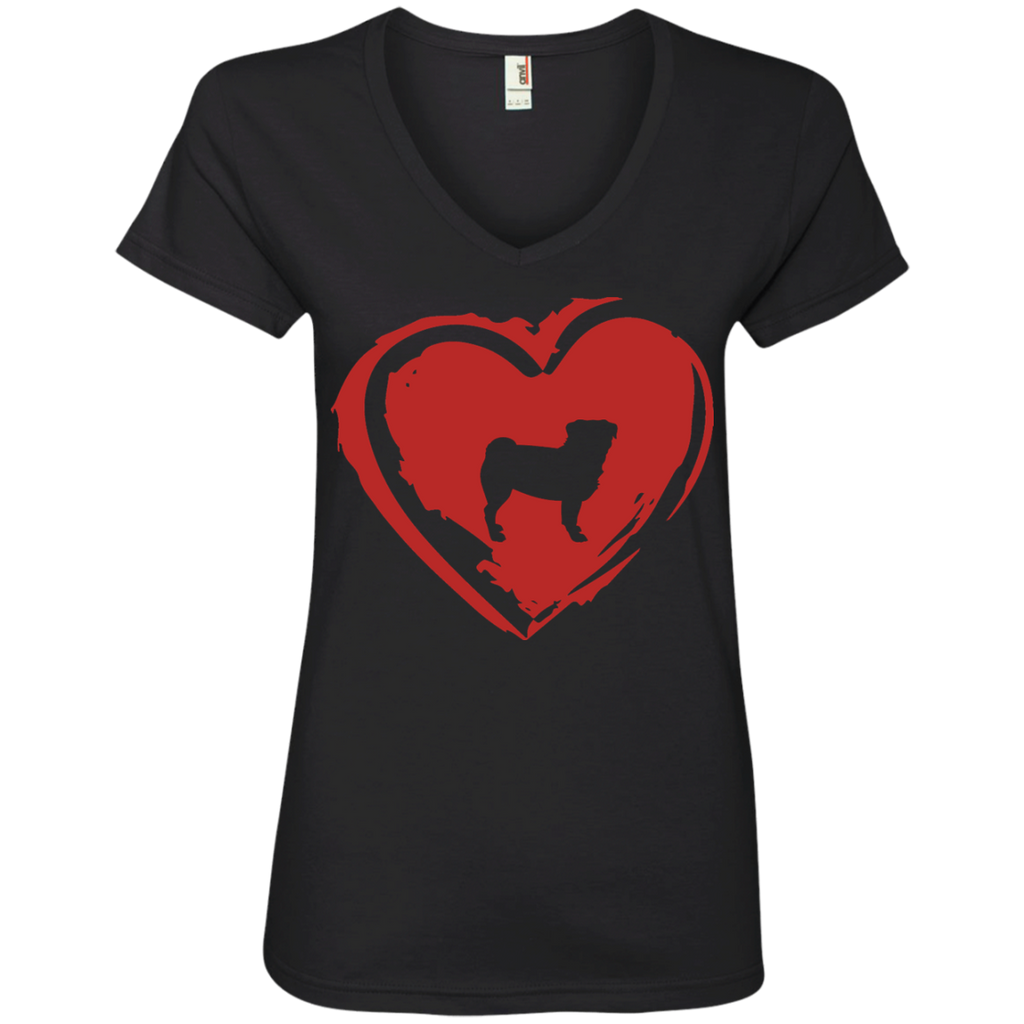 Love My Pug Ladies' V-Neck Tee