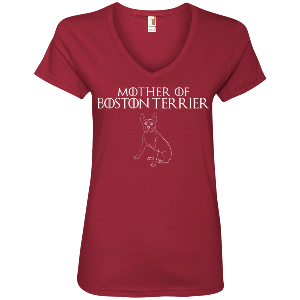 Mother Of Boston Terrier Ladies' V-Neck Tee