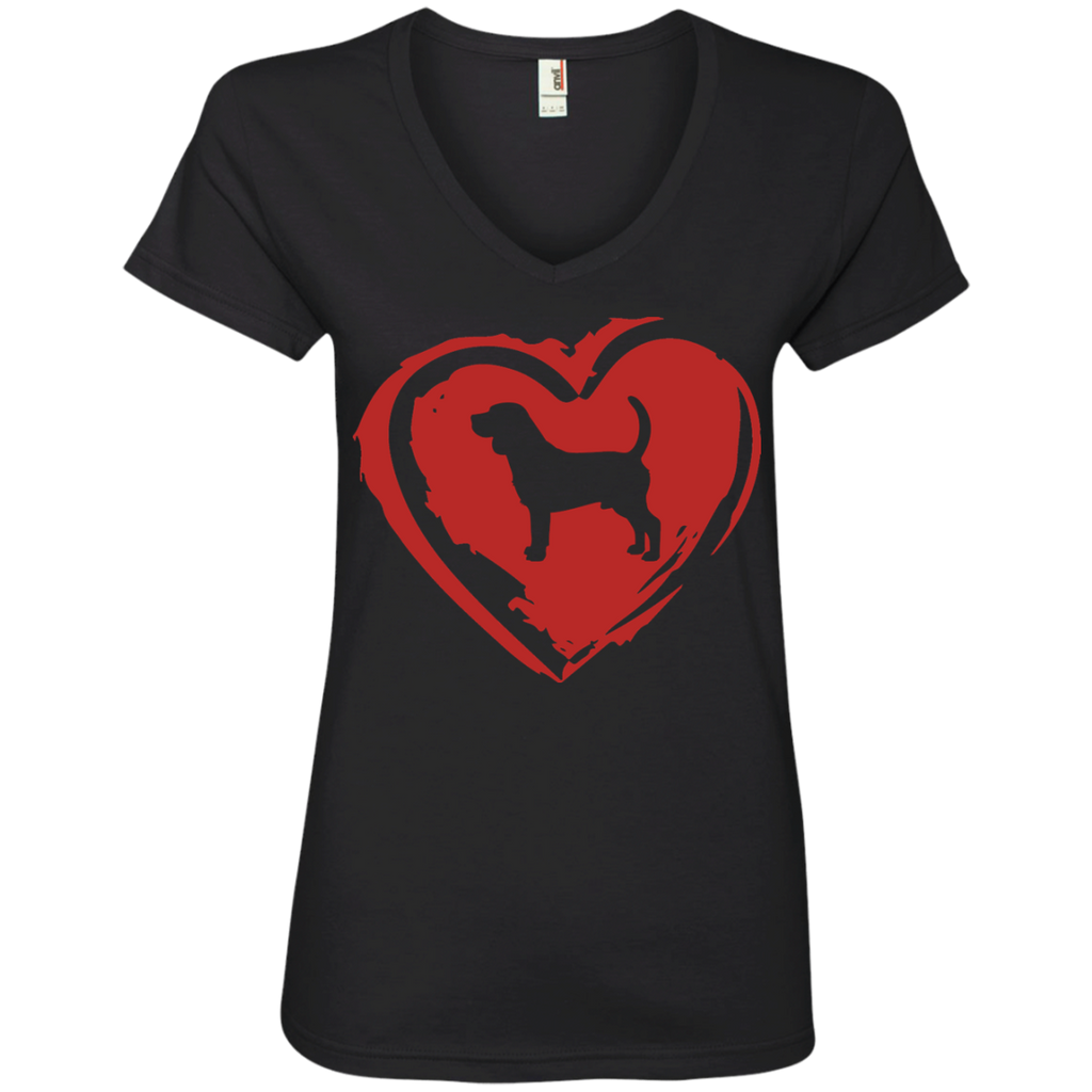 Love My Beagle Ladies' V-Neck Tee