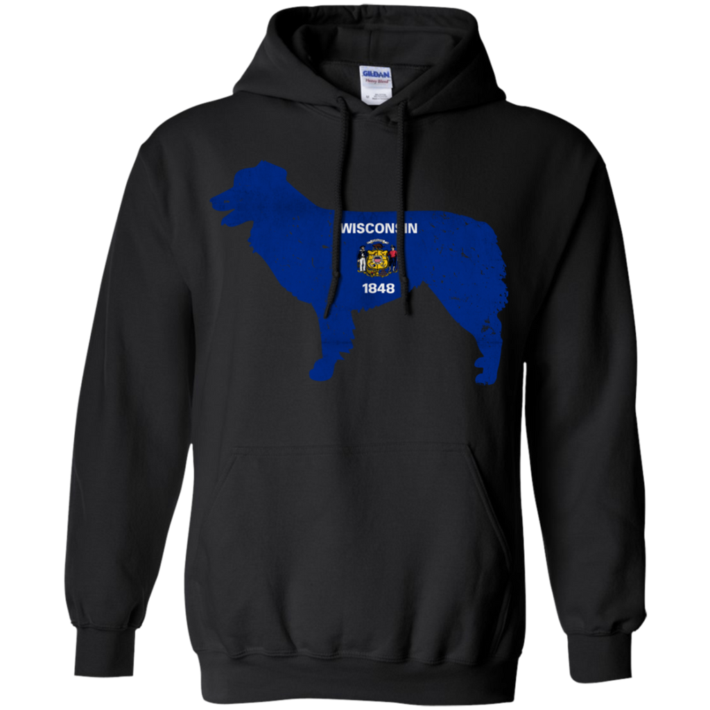 Border Collie Wisconsin Flag Pullover Hoodie 8 oz.