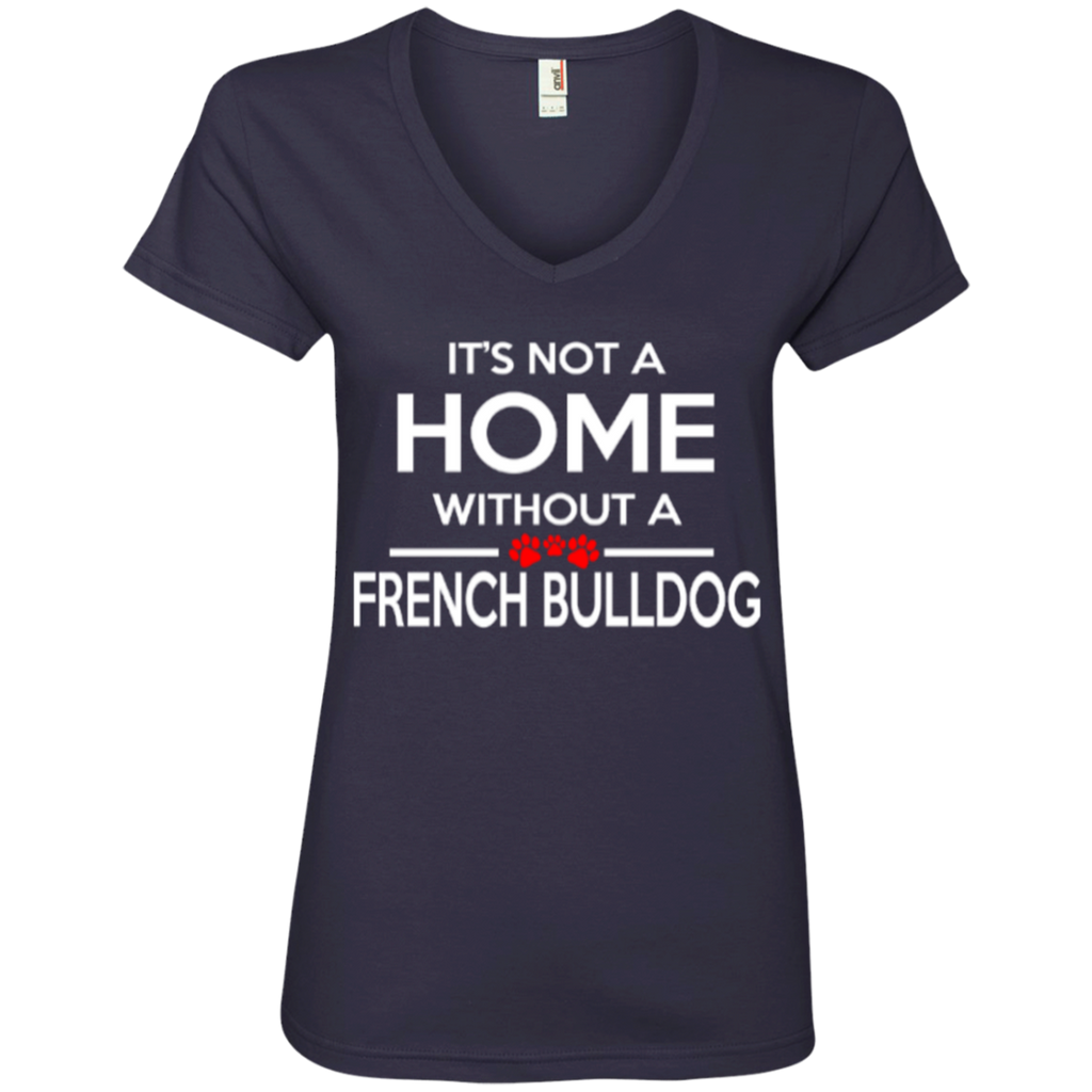 Not A Home Frenchie Ladies' V-Neck Tee
