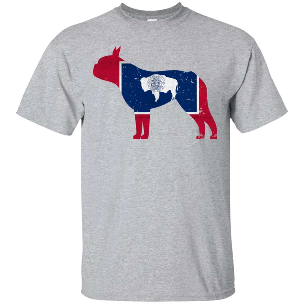 Boston Terrier Wyoming Flag Ultra Cotton T-Shirt