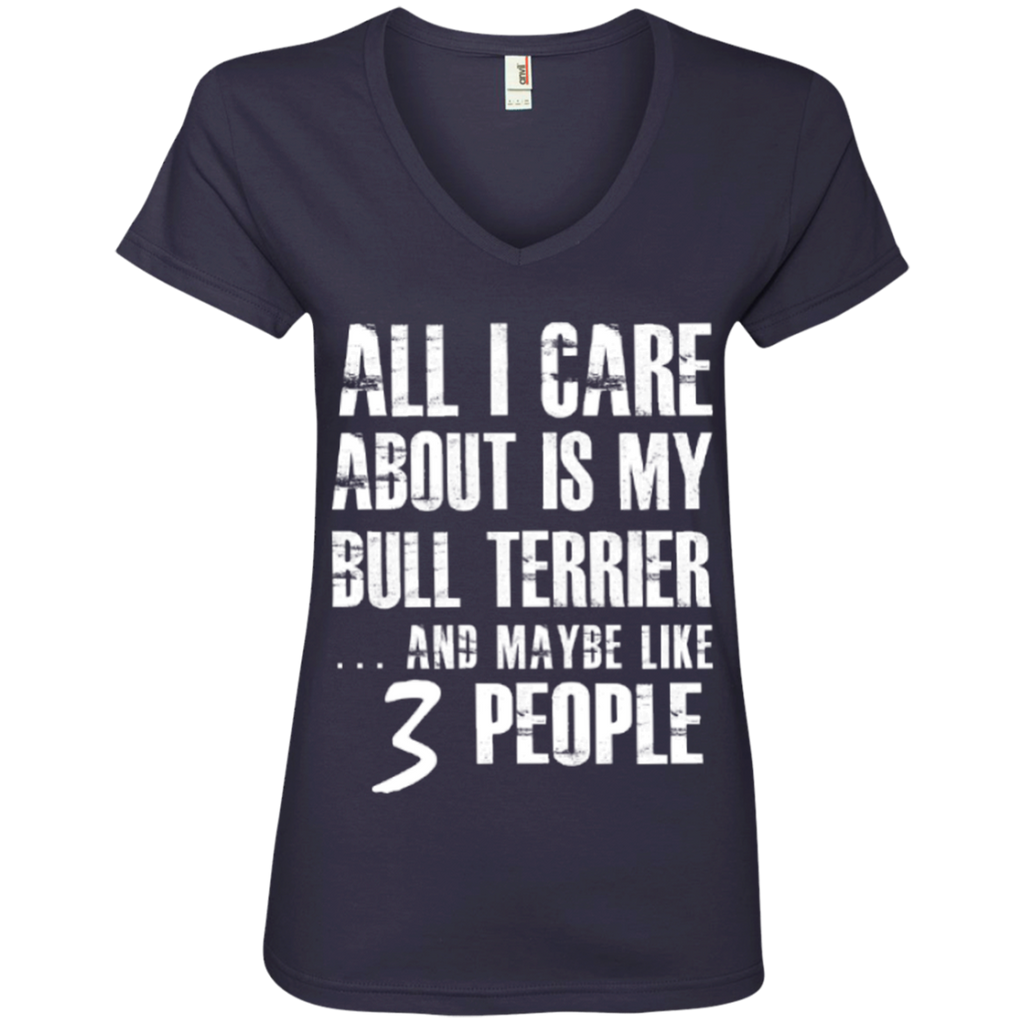 3 People Bull Terrier Ladies' V-Neck Tee
