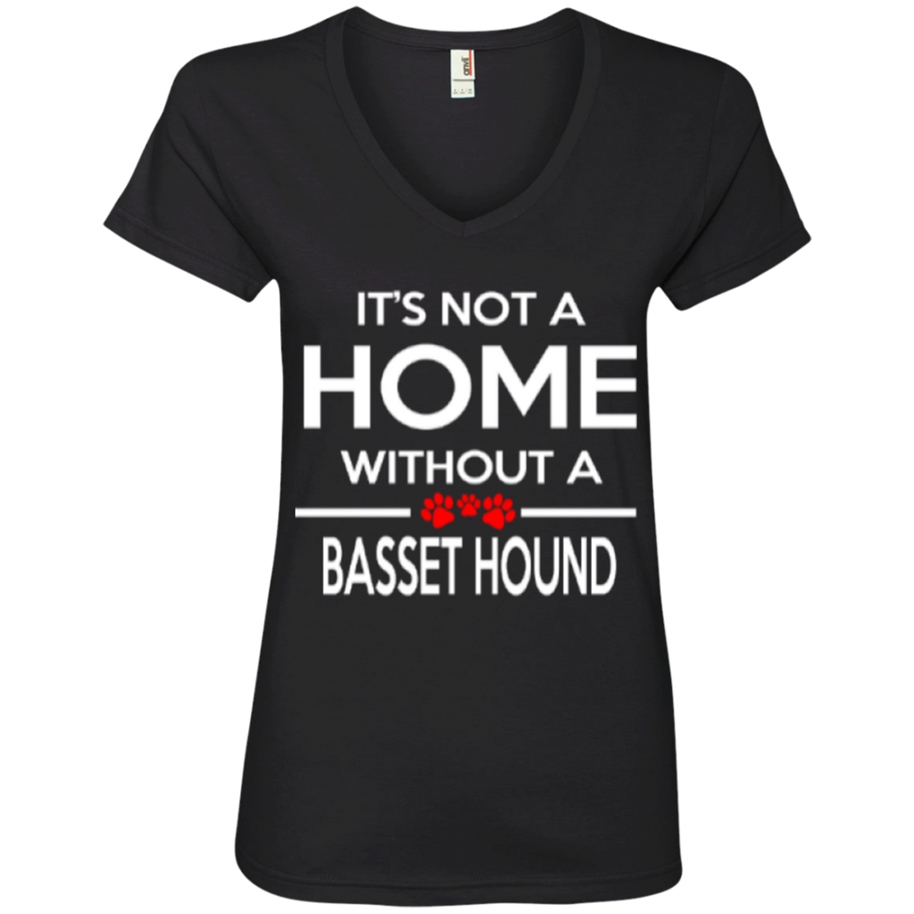Not A Home Basset Hound Ladies' V-Neck Tee