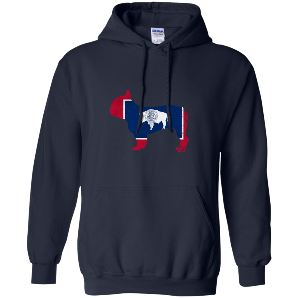 French Bulldog Wyoming Flag Pullover Hoodie 8 oz.