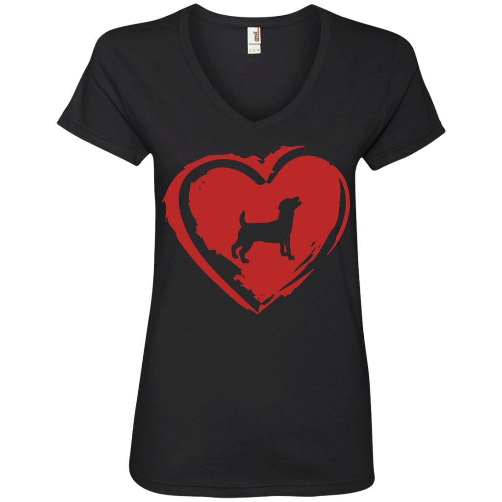 Love My Jack Russell Ladies' V-Neck Tee