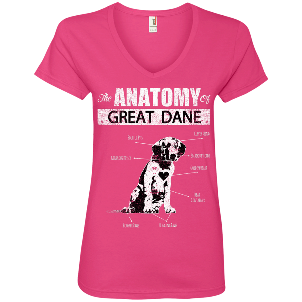 Anatomy Of Great Dane Ladies' V-Neck Tee