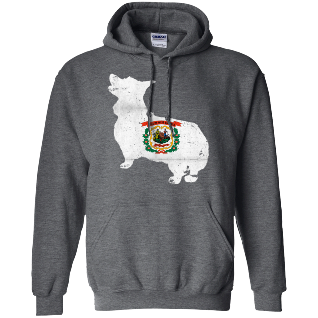 Welsh Corgi West Virginia Flag Pullover Hoodie 8 oz.