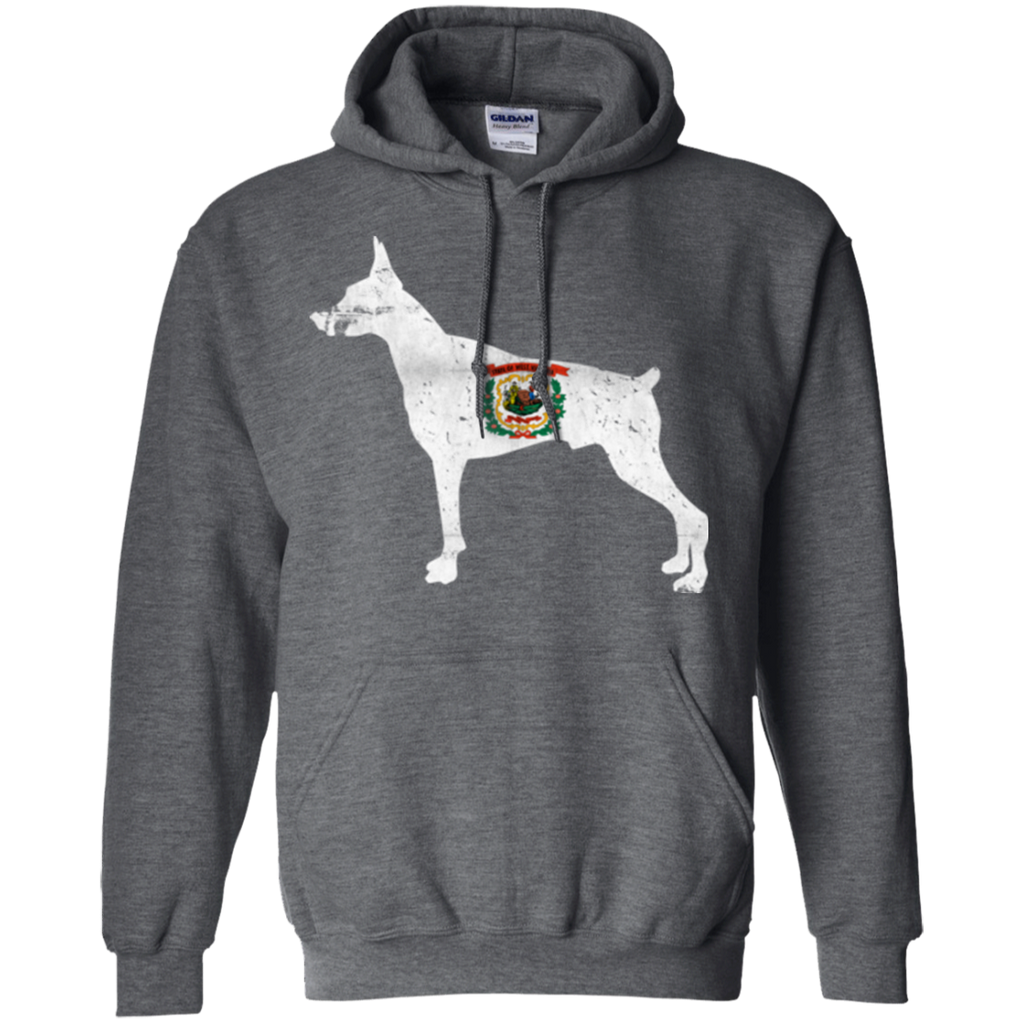 Doberman West Virginia Flag Pullover Hoodie 8 oz.