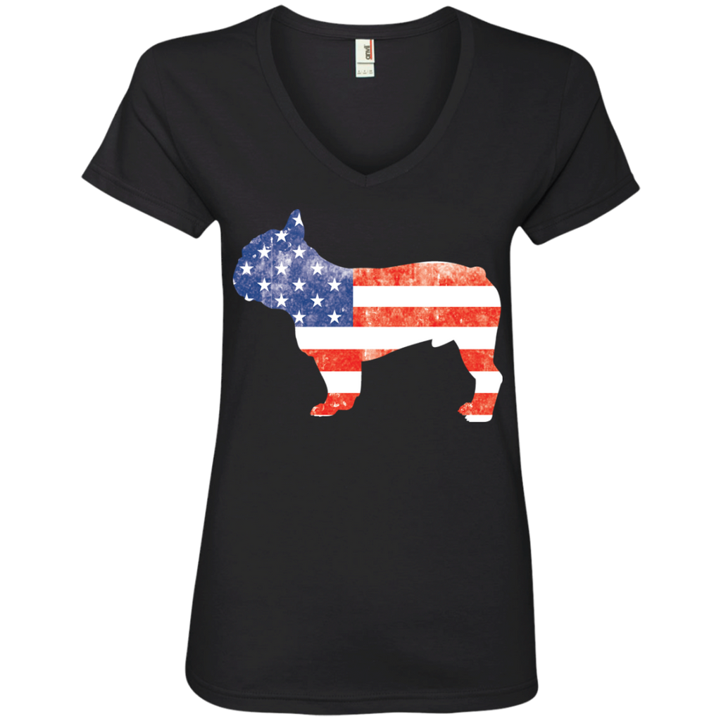 USA Frenchie Ladies' V-Neck Tee