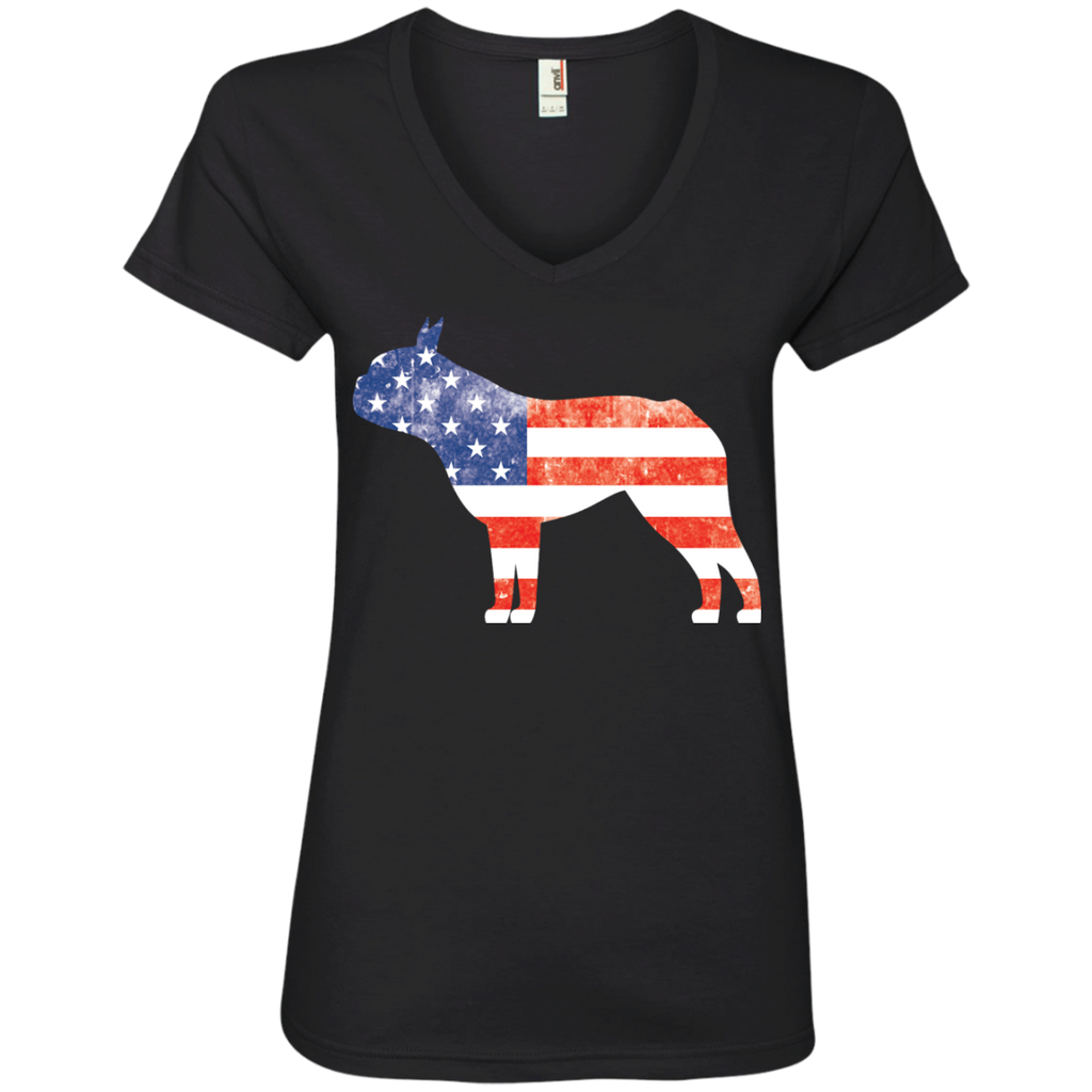 USA Boston Terrier Ladies' V-Neck Tee