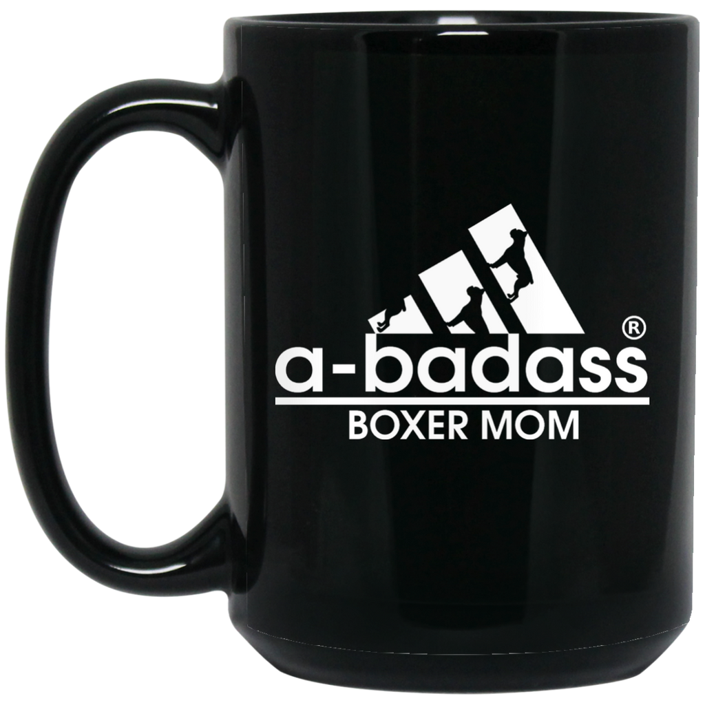 A-Badass Boxer Mom Black 15 oz. Mug