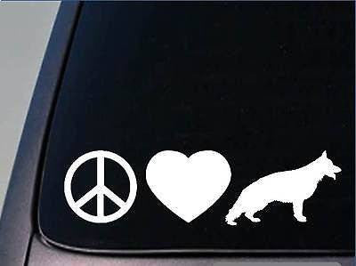 "Peace Love German Shepherd Sticker 8"" Vinyl Schutzhund"
