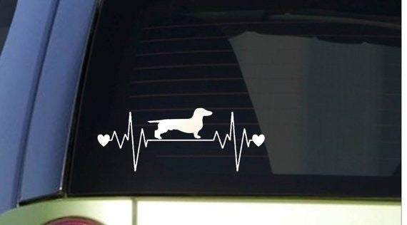 "Dachshund heartbeat lifeline 8"" wide Sticker decal weiner dog"