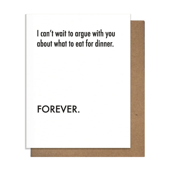 Argue Dinner Card,  Greeting Card, handmade, american made - The Matt Butler