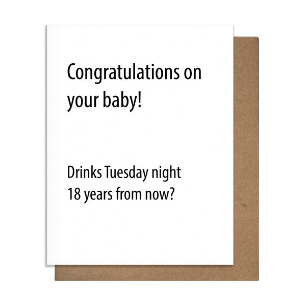 New Baby Drinks Card,  Greeting Card, handmade, american made - The Matt Butler