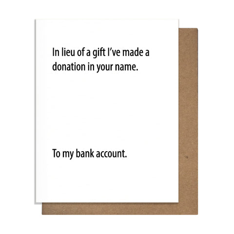 Bank Donation Card,  Greeting Card, handmade, american made - The Matt Butler