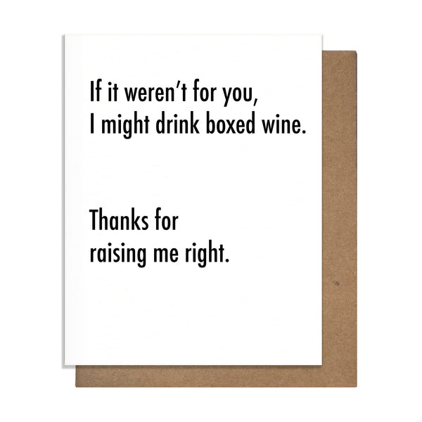 Boxed Wine Mother's / Father's Day card,  Greeting Card, handmade, american made - The Matt Butler