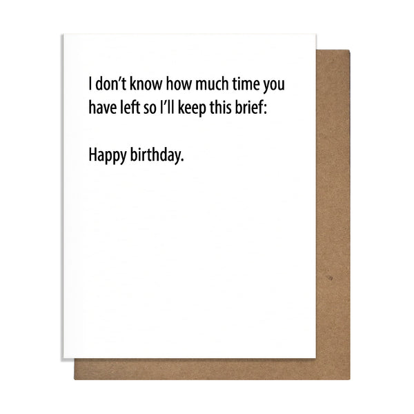 Brief Birthday Card,  Greeting Card, handmade, american made - The Matt Butler