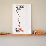 Falling in Love Print wall art anniversary gift