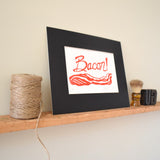 bacon linocut print wall art