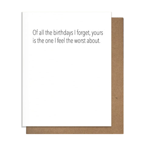 Forget Birthday Card,  Greeting Card, handmade, american made - The Matt Butler