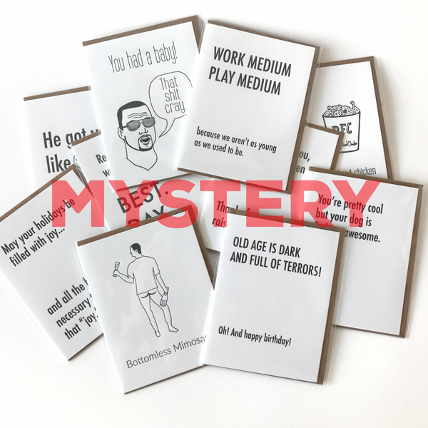 Mystery Card Pack,  Greeting Card, handmade, american made - The Matt Butler
