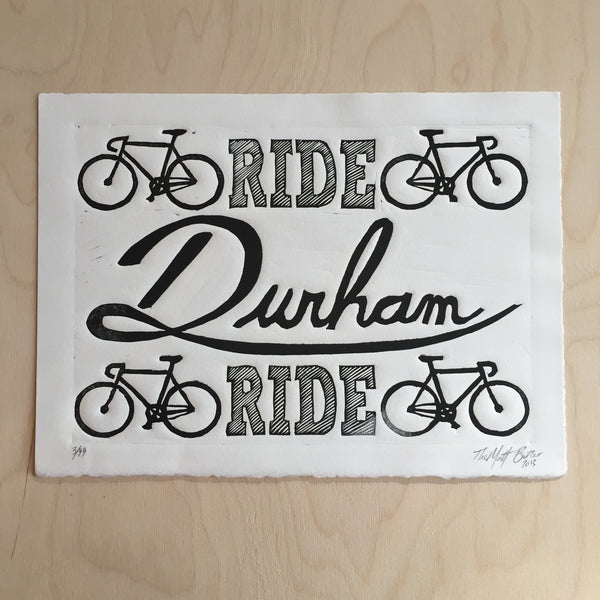 Ride Durham Ride,  Prints, handmade, american made - The Matt Butler