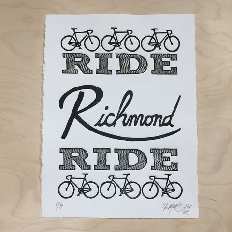 Ride Richmond Ride,  Prints, handmade, american made - The Matt Butler