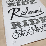richmond bike wall art cyclist gift