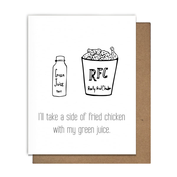 Green Juice & Fried Chicken Card,  Greeting Card, handmade, american made - The Matt Butler