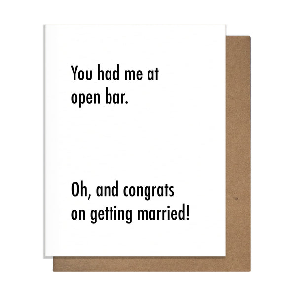 Open Bar Wedding Card,  Greeting Card, handmade, american made - The Matt Butler