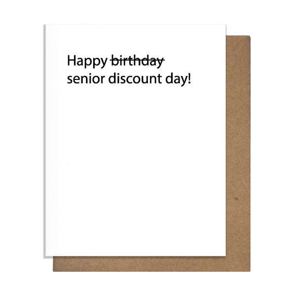 Senior Discount Card,  Greeting Card, handmade, american made - The Matt Butler