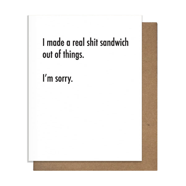 Shit Sando Card,  Greeting Card, handmade, american made - The Matt Butler