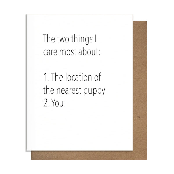 Puppies and You Love Card,  Greeting Card, handmade, american made - The Matt Butler