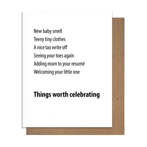 Worth Baby Card,  Greeting Card, handmade, american made - The Matt Butler