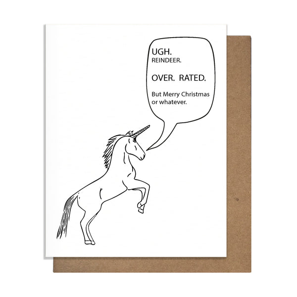 Grumpy Unicorn Christmas Card,  Greeting Card, handmade, american made - The Matt Butler