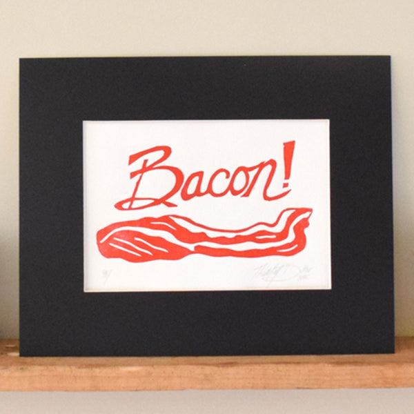 bacon linocut wall art