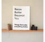 butter bacon beyonce linocut print wall art kitchen art