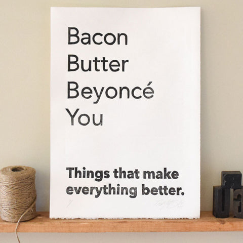 butter bacon beyonce linocut print wall art