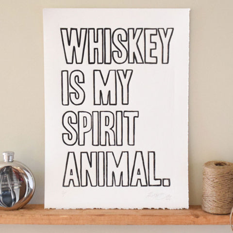 whiskey spirit animal wall art linocut print