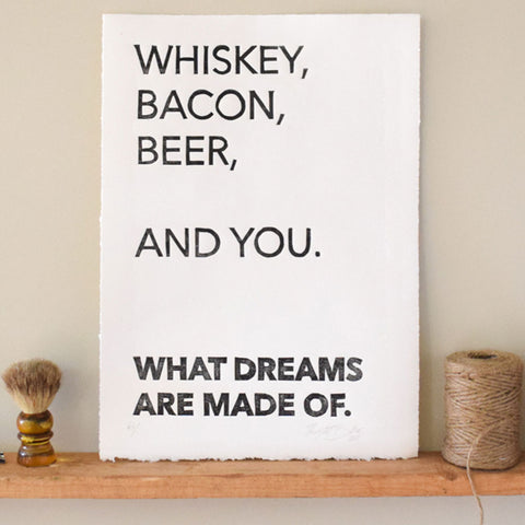 Whiskey, Bacon, Beer, You Print,  Prints, handmade, american made - The Matt Butler