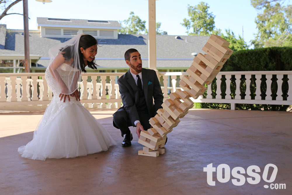 Giant Tumble Tower Wedding Game