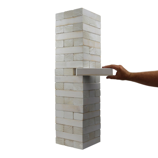 Giant Tumble Tower; White Distressed Finish