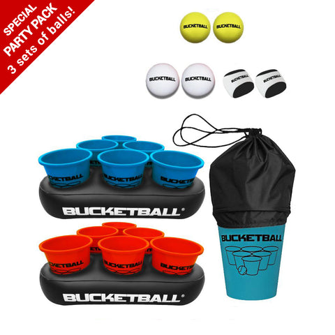 Bucket Ball - Party Pack With Inflatable Racks + 3 sets of balls