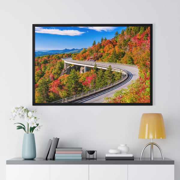 Linn Cove Viaduct in Fall Wood-Framed Poster Print